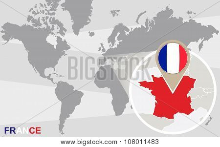 World Map With Magnified France