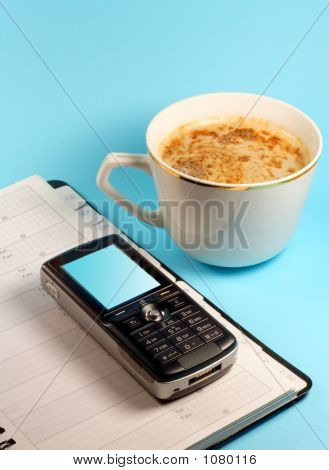 Calendar, Coffee And Mobile Phone