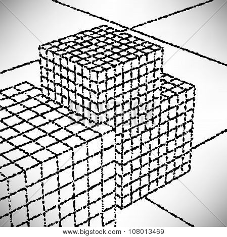 Background Cubes Meshwork Engraved Dots And Spots