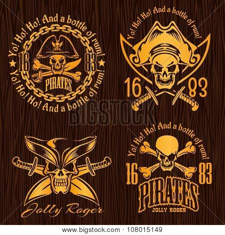 Pirate labels set - design for badges, logos and t-shirt prints.