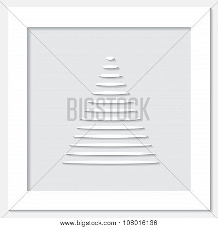 Stock Vector White Frame With Christmas Tree  On The Grey Background.
