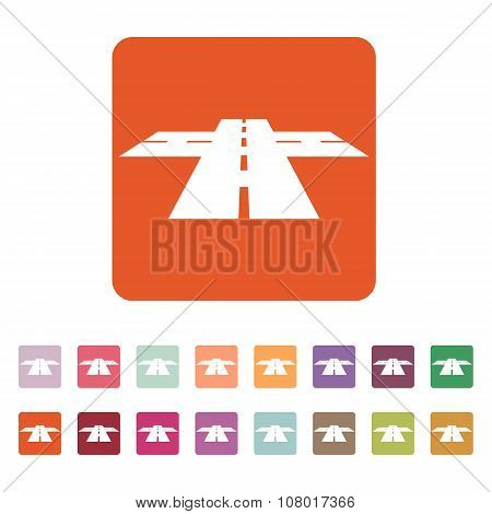 The crossroads icon. Crossway and crossing, intersection, road,  route symbol. Flat