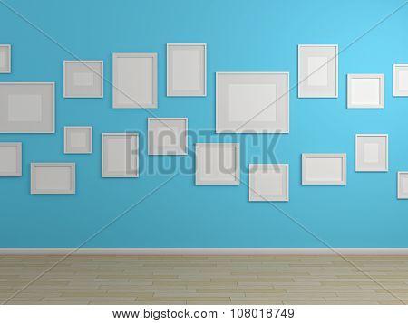 3d rendered modern shelves.