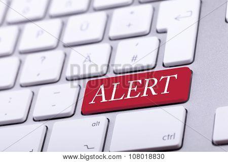Aluminium Keyboard With Alert Word On It