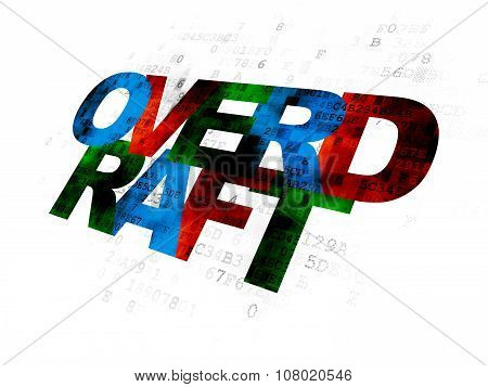Business concept: Overdraft on Digital background