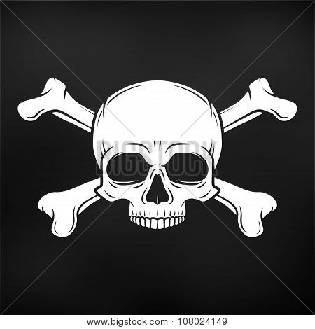 Human evil skull vector on black background. Jolly Roger with crossbones logo template. death t-shir