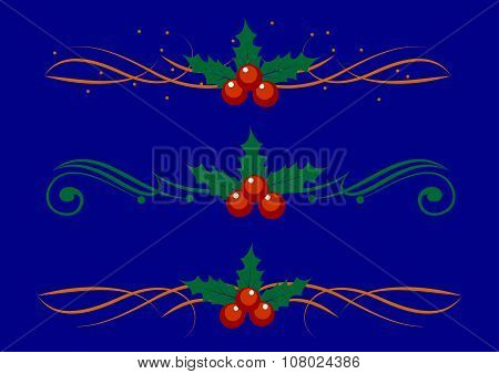 Christmas decoration holly set. Vector illustration.