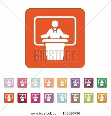 The speech icon. Speak and broadcaster, orator, presentation, conference symbol. Flat Vector illustration. Button Set poster
