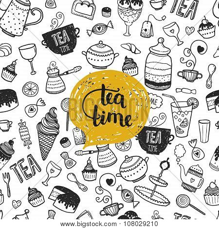 Hand drawn Tea time illustration