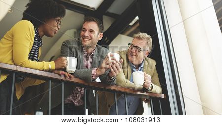 Group Business People Chatting Balcony Concept poster