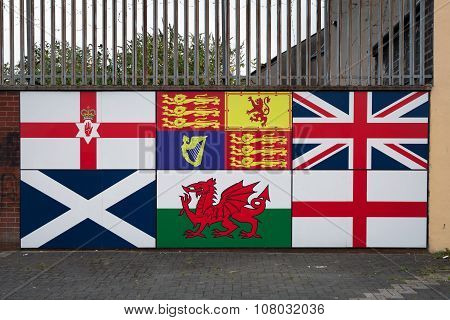 Flags Of British Isles, Unionist Mural In Belfast