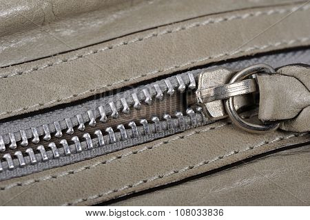 Gray Leather zipper