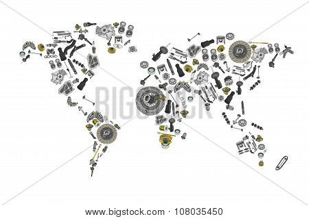 Draw a map of the world made up of spare parts