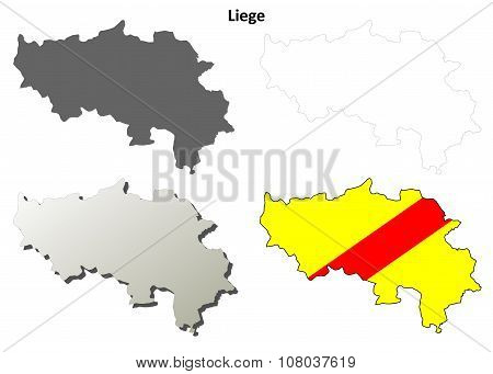Liege outline map set - Walloon version