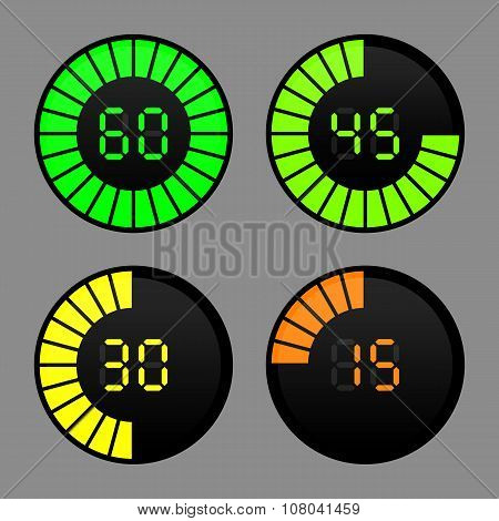 Lovely set of timers icons on a black background poster