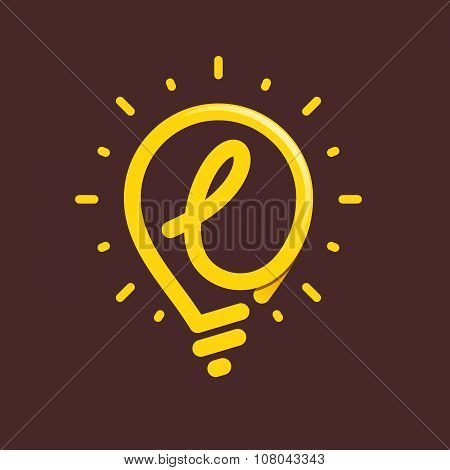 L Letter With Light Bulb Or Idea Icon.