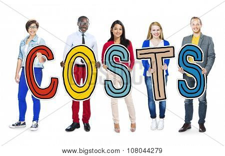 Group of People Standing Holding Costs Letter