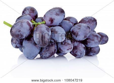Fresh Blue Grapes Isolated On White Background