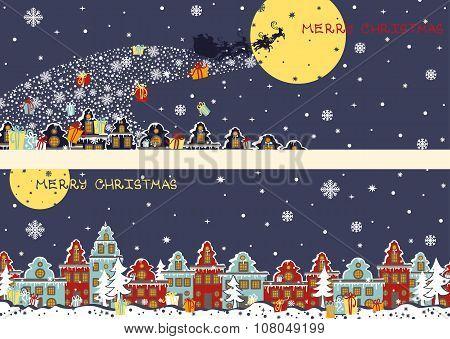 Christmas horizontal banners.Santa Claus coming to City