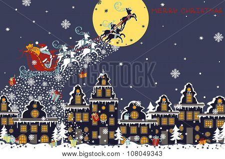 Christmas horizontal card.Santa Claus coming to City