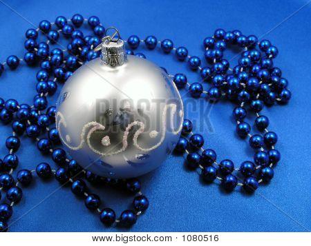 Christmas  Ball And Blue Beads
