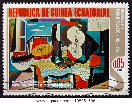 Postage Stamp Equatorial Guinea 1975 Mandolin And Guitar, By Pic