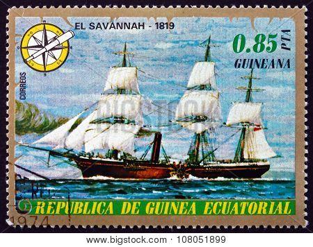 Postage Stamp Equatorial Guinea 1976 Steamship Sawannah