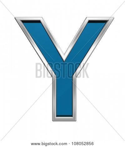Preview Stock Photo: One letter from blue glass with chrome frame alphabet set, isolated on white. Computer generated 3D photo rendering.