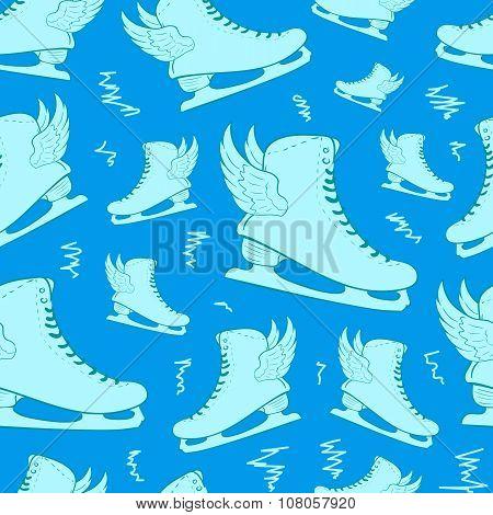 Seamless winged blue skates
