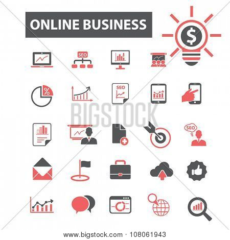 business online icons, signs vector concept set for infographics, mobile, website, application