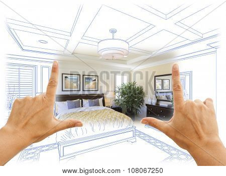 Beautiful Hands Framing Custom Bedroom Drawing Photograph Combination. The framed art is photographer's copyright.