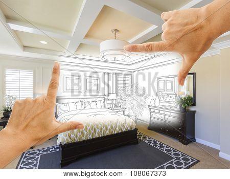 Beautiful Hands Framing Custom Bedroom Drawing Photograph Combination.