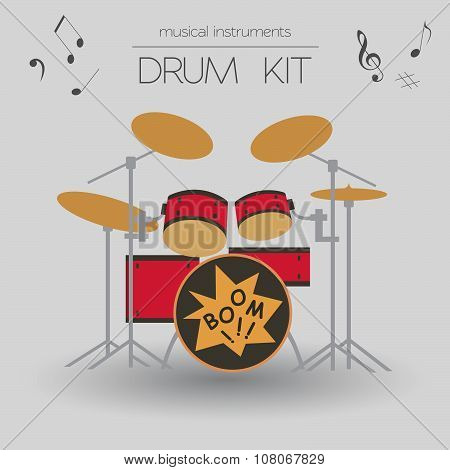 Musical instruments graphic template. Drumkit.