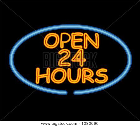 Open 24 Hours Neon Sign - Vector Illustration