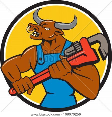 Illustration of a minotaur bull plumber in overalls holding adjustable wrench looking to the side set inside circle on isolated background done in cartoon style. poster