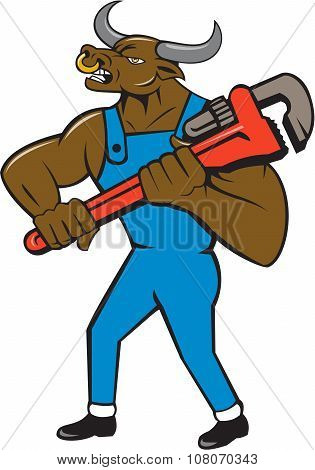 Illustration of a minotaur bull plumber in overalls holding adjustable wrench standing looking to the side set on isolated white background done in cartoon style. poster
