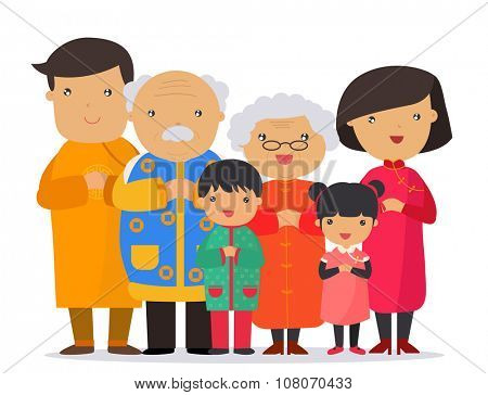 A traditional chinese new year celebration,Happy big family