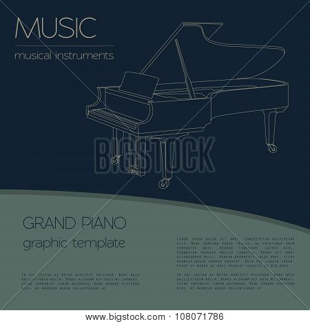 Musical instruments graphic template. Grand piano