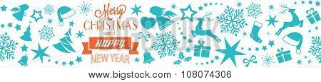 A seamless border with Merry Christmas and Happy New Year typography and Christmas, winter symbols, ornaments like Christmas trees, Santa hats, ribbons, gifts, angels, hearts, stars and snowflakes.