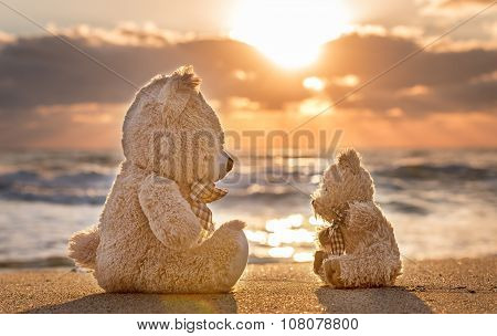 Teddy Bears Sitting On The Beautiful Beach With Love. Concept About Love And Relationship.