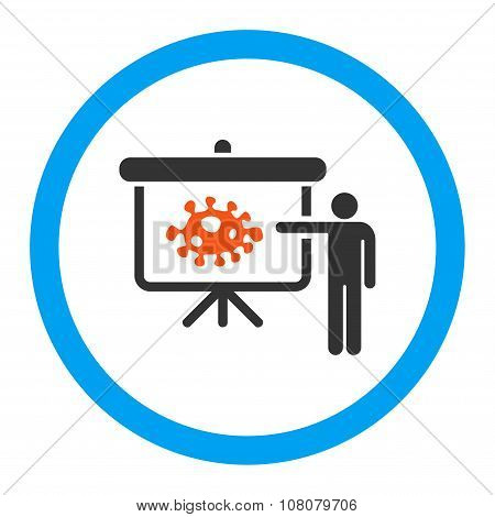 Bacteria Lecture glyph icon. Style is flat rounded symbol, bright colors, rounded angles, white background. poster