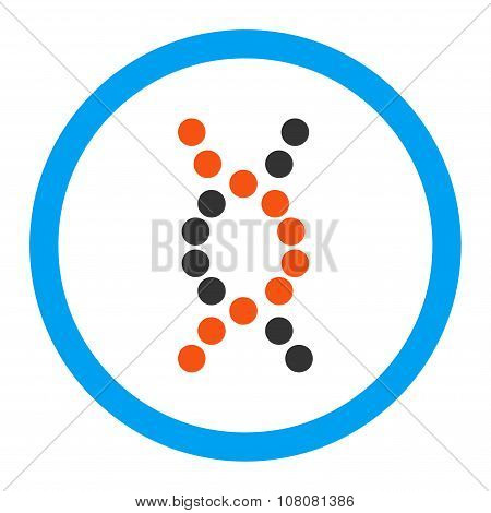 DNA Spiral glyph icon. Style is flat rounded symbol, bright colors, rounded angles, white background. poster
