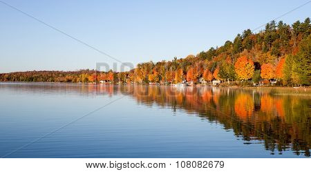 Fall Colors Reflected In A Calm Lake