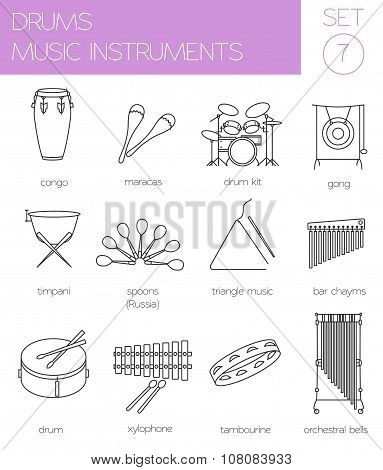 Musical instruments graphic template. Drums.