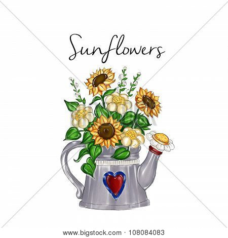 watercolor hand drawn illustration - sunflower bouquet inside watering metal can