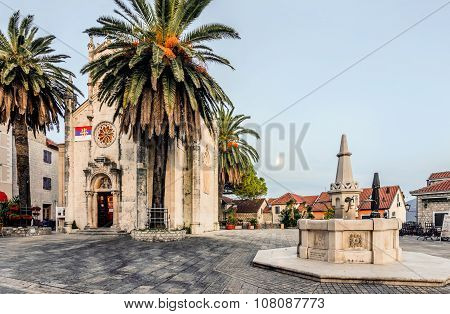Church Of St. Jerome With Square In. Herceg Novi, Montenegro.