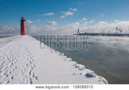 Lake Michigan Harbor Below Zero