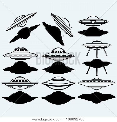 UFO flying saucer set icon