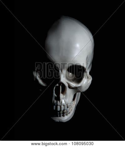 Human skull with dramatic lightning