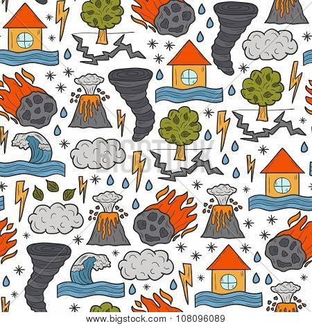 Seamless cartoon hand drawn background on natural disaster theme poster